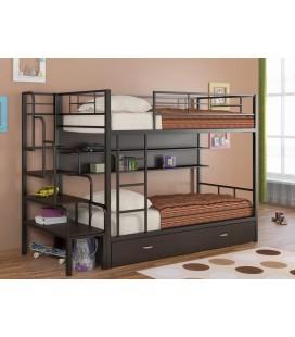кровать Севилья-2ПЯ (с полкой и ящиком) + лестница для кроватей из металла