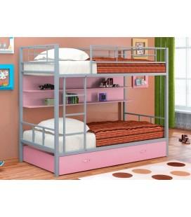 двухъярусная кровать Севилья-2 ПЯ серый / розовый