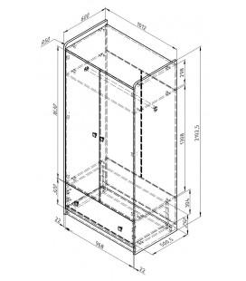 схема Дельта 9 Сильвер шкаф с ящиком (Формула мебели)