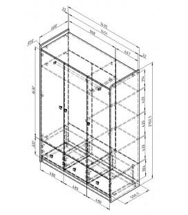 схема Дельта 9.1 Сильвер шкаф 3-х дверный (Формула мебели)