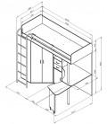 кровать-чердак М-85 Теремок размеры