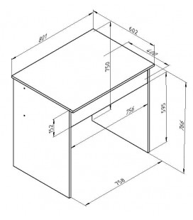 ДЕЛЬТА-15/2 стол письменный с ящиком размеры