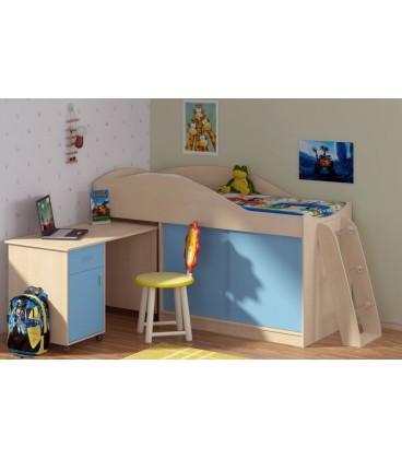 buymebel.ru кровать-чердак Дюймовочка-3 корпус дуб молочный, фасад голубой