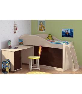 кровать-чердак Дюймовочка-3 корпус дуб молочный, фасад венге