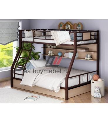 buymebel.ru двухъярусная кровать Гранада-1 ПЯ цвет коричневый - дуб молочный