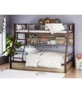 двухъярусная кровать Гранада-1 ПЯ цвет коричневый - дуб Айленд
