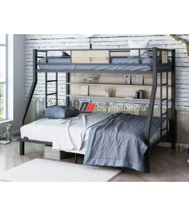 кровать с полкой Гранада-П 140 цвет чёрный / дуб Айленд