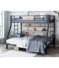buymebel.ru кровать с полкой Гранада-П 140 цвет чёрный / дуб Айленд