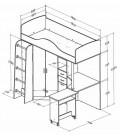 кровать-чердак Теремок-1 схема с размерами