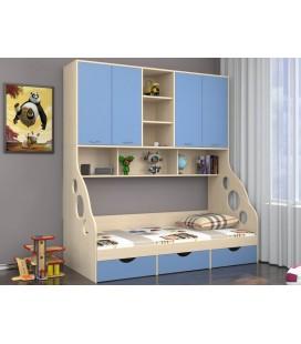 ДЕЛЬТА-21.11 кровать с антресолью дуб молочный / голубой