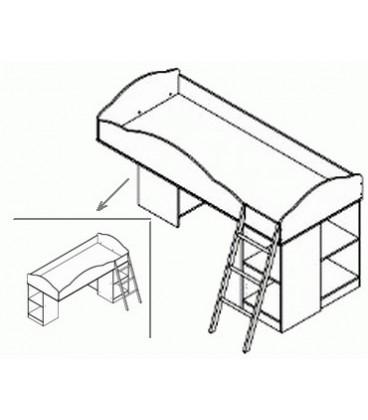 кровать Дюймовочка-5 БАЗА с металлической лестницей