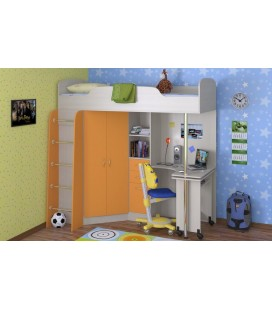 кровать-чердак Теремок-1 корпус дуб молочный, фасад оранжевый фабрика Формула мебели