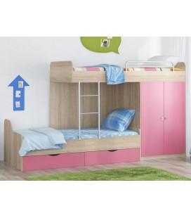 кровать двухъярусная ДЕЛЬТА-18.04.01 дуб сонома / розовый