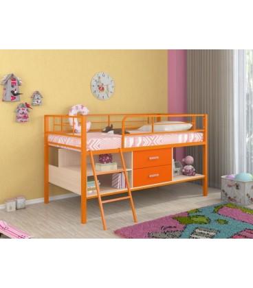 buymebel.ru кровать-чердак Севилья-Я-мини металл оранжевый, лдсп дуб молочный - оранжевый