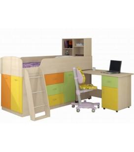 низкая кровать чердак детская Дюймовочка-1 корпус Дуб молочный, фасад МУЛЬТИЦВЕТ