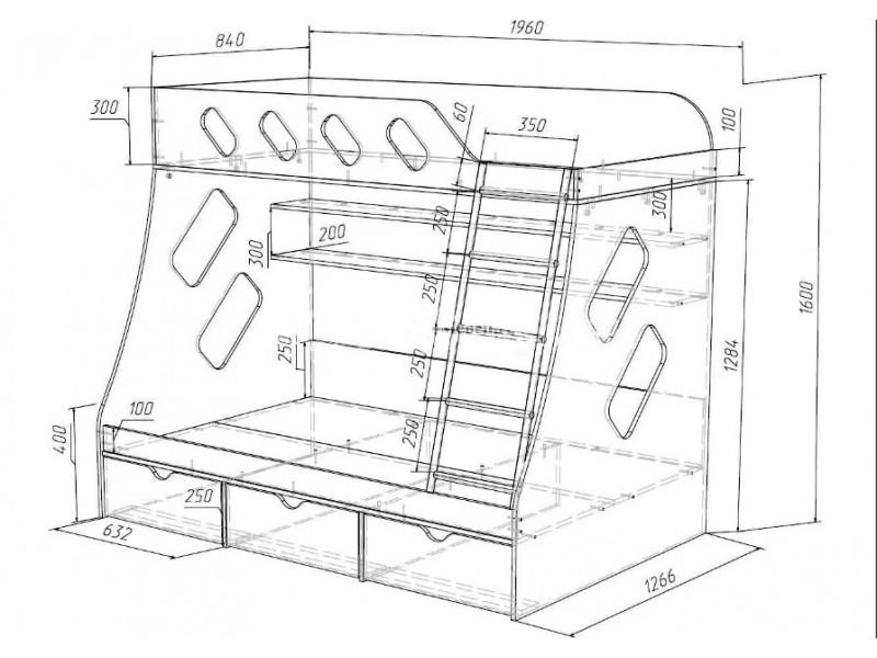 Двухъярусная кровать своими руками чертеж из дсп 287