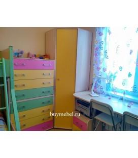 ДЕЛЬТА-1 шкаф для одежды угловой фасад жёлтый