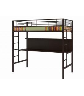 кровать-чердак Севилья-1цвет металла 8014 коричневый, столешница венге