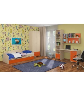 детская комната Дельта №12 дуб молочный / оранжевый