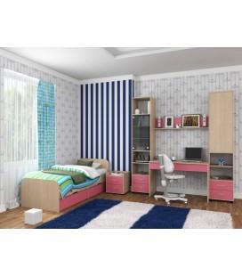 детская комната Дельта №14 дуб молочный / розовый