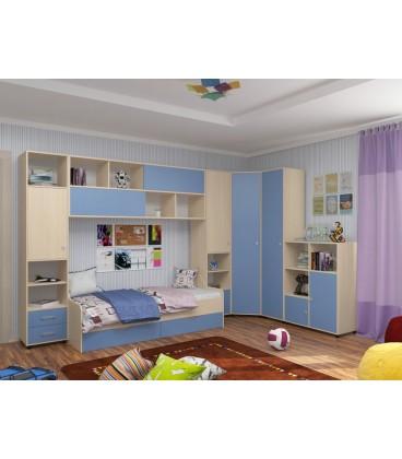 детская комната Дельта №2 цвет дуб молочный / голубой