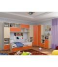 детская комната Дельта №2 цвет дуб молочный / оранжевый