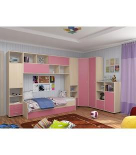 детская комната Дельта №2 цвет дуб молочный / розовый
