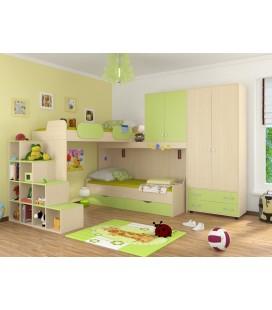 детская комната Дельта №6 цвет дуб молочный / салатовый